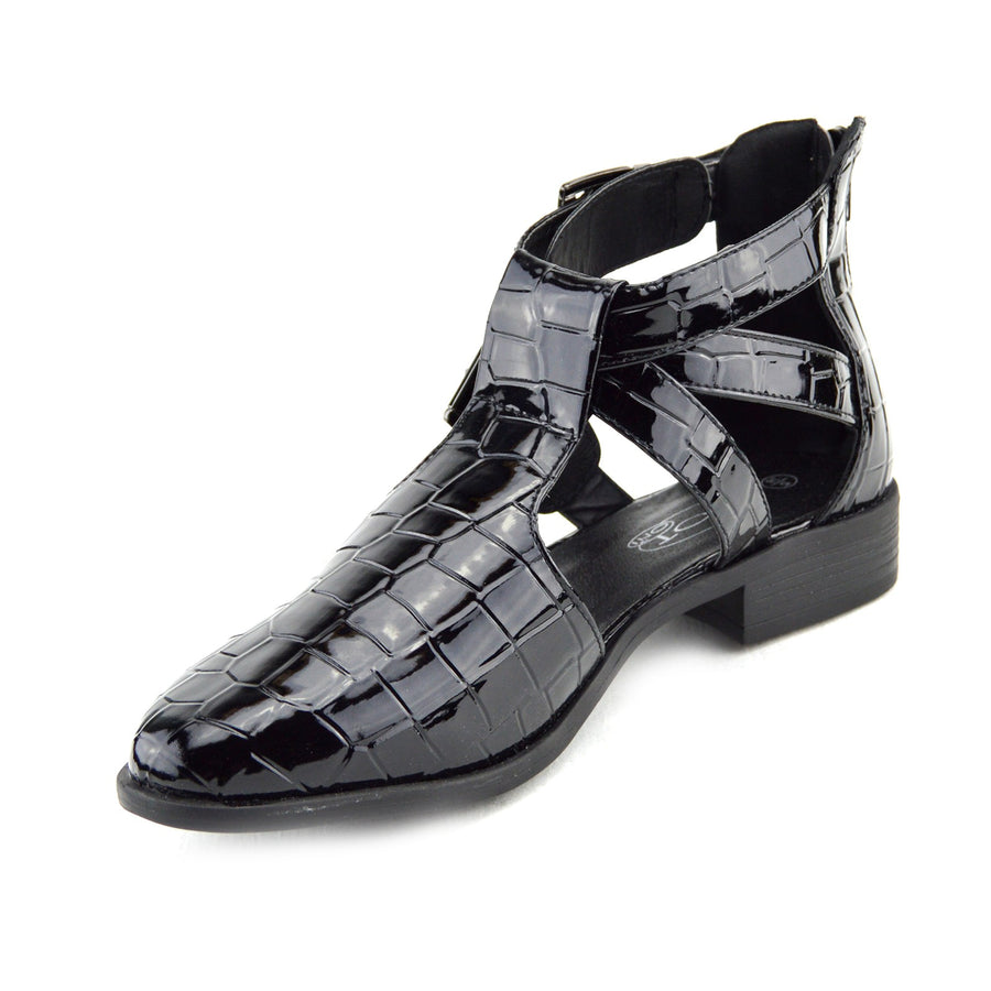 Womens Fashion Flats Double Buckle Strap Cut Out Ankle Causal Shoes - Black