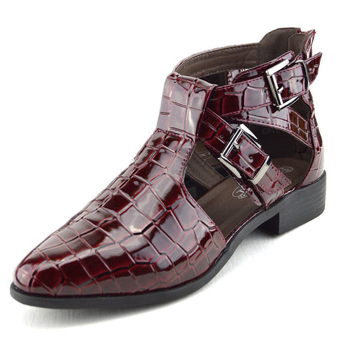 Smart Pointed Cut Out Chelsea Booties - Burgundy
