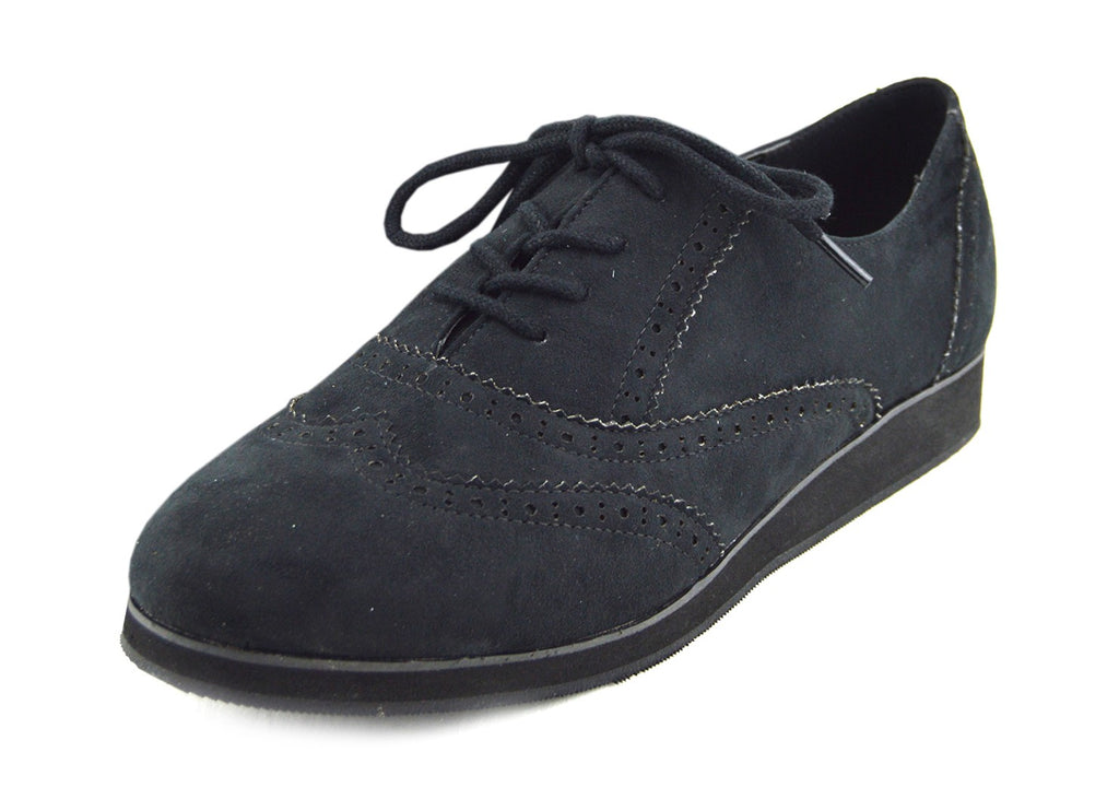 Lightweight Smart Flat Brogue Lace Up Oxford Shoes - Black