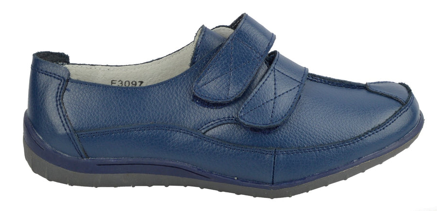 Ladies leather fasten easy closure comfortable soft walking touch strap shoes - Navy