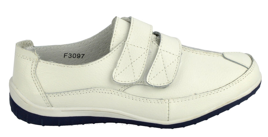 Ladies leather fasten easy closure comfortable soft walking touch strap shoes - White