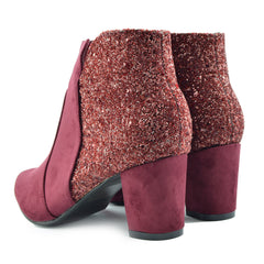 Rebel Decorative Chelsea Ankle Boots  - Burgundy