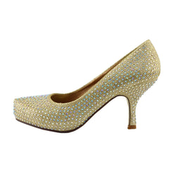 Glitter Stud Party Kitten Heels - Gold
