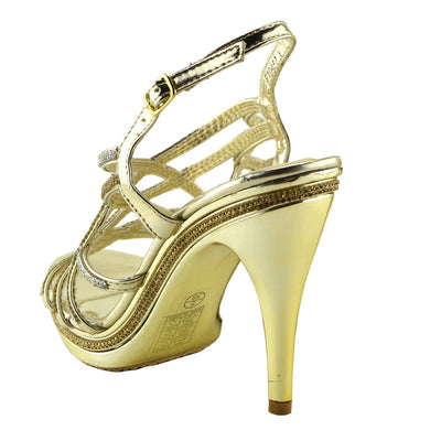 Womens Stiletto High Heels Wedding Gold Silver Black Shoes - GOLD - F10457X