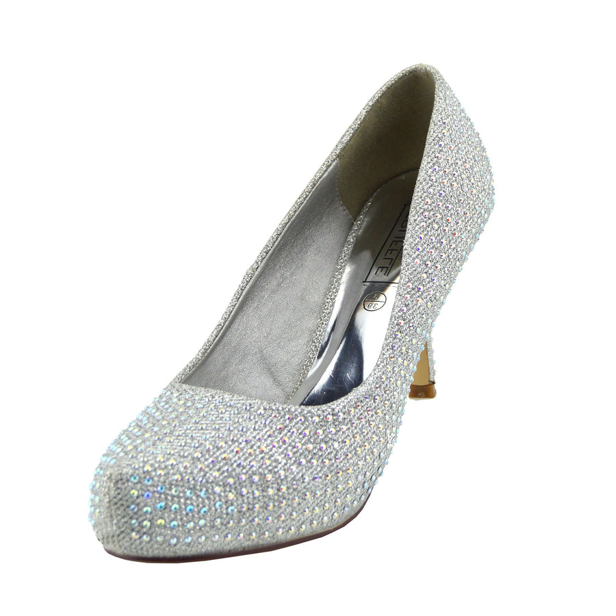 2a1d1a7cefb28 WOMENS LADIES MID STILETTO POINTED TOE HIGH HEELS PARTY PUMPS COURT SHOES  SIZE - SILVER -
