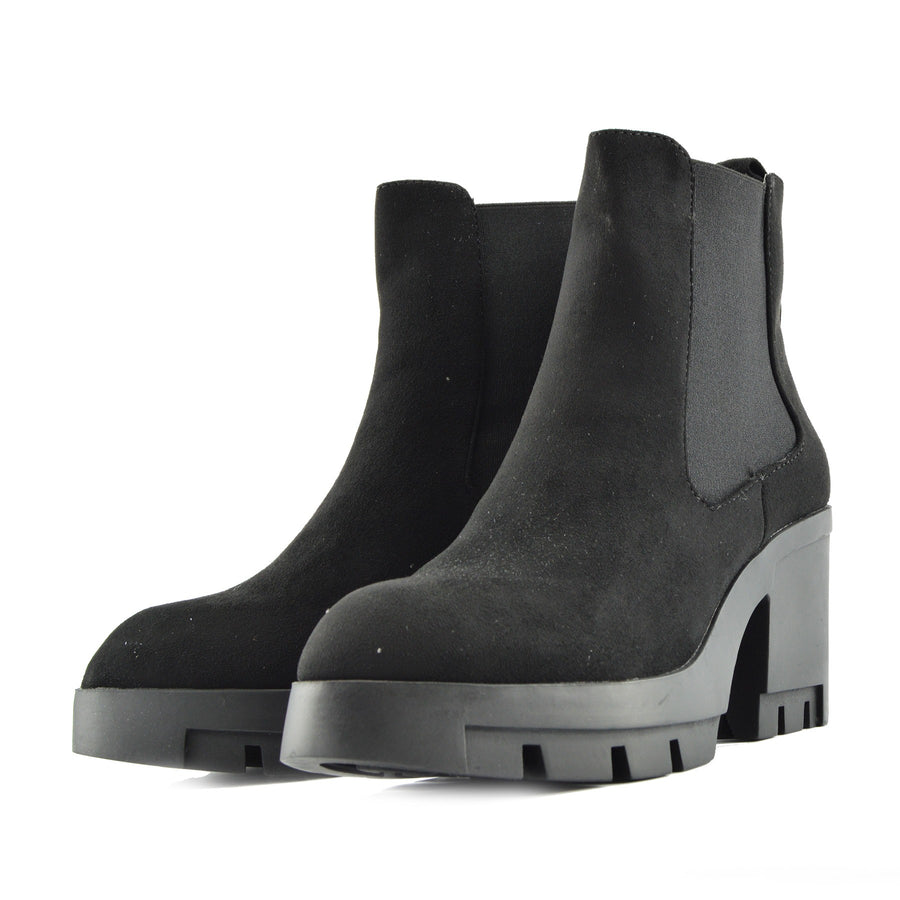 Womens Ladies Mid High Block Platform Chelsea Boots - Black - F50379
