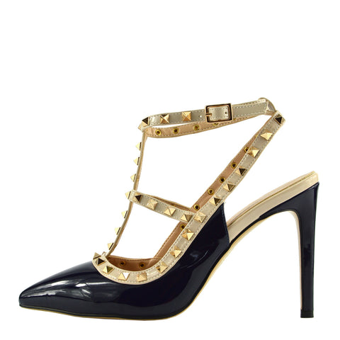 Patent High Heel Stud Court Shoes - Navy NF515