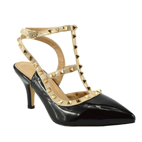 Patent Low Heel Stud Court Shoes - Black NF906