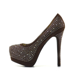 Silver Gem Sparkle Platform Heels - Brown
