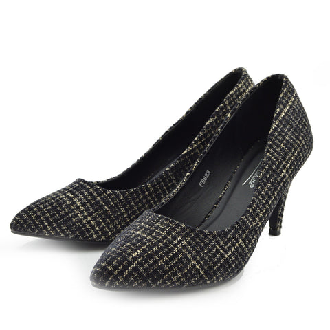 Tweed Kitten Heels Smart Shoes
