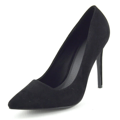 Womens Ladise Stilletto Heels Black Office Work Prom Party Court Pointed Shoes - Black Suede