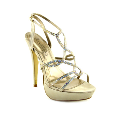Womens Ladise Stilletto High Heels Party Shoes, Ankle Strap Diamente Sandals UK - Beige
