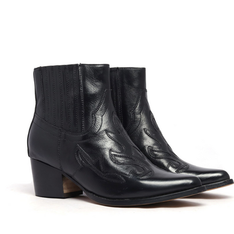 Black Kitty Leather Ankle Boots