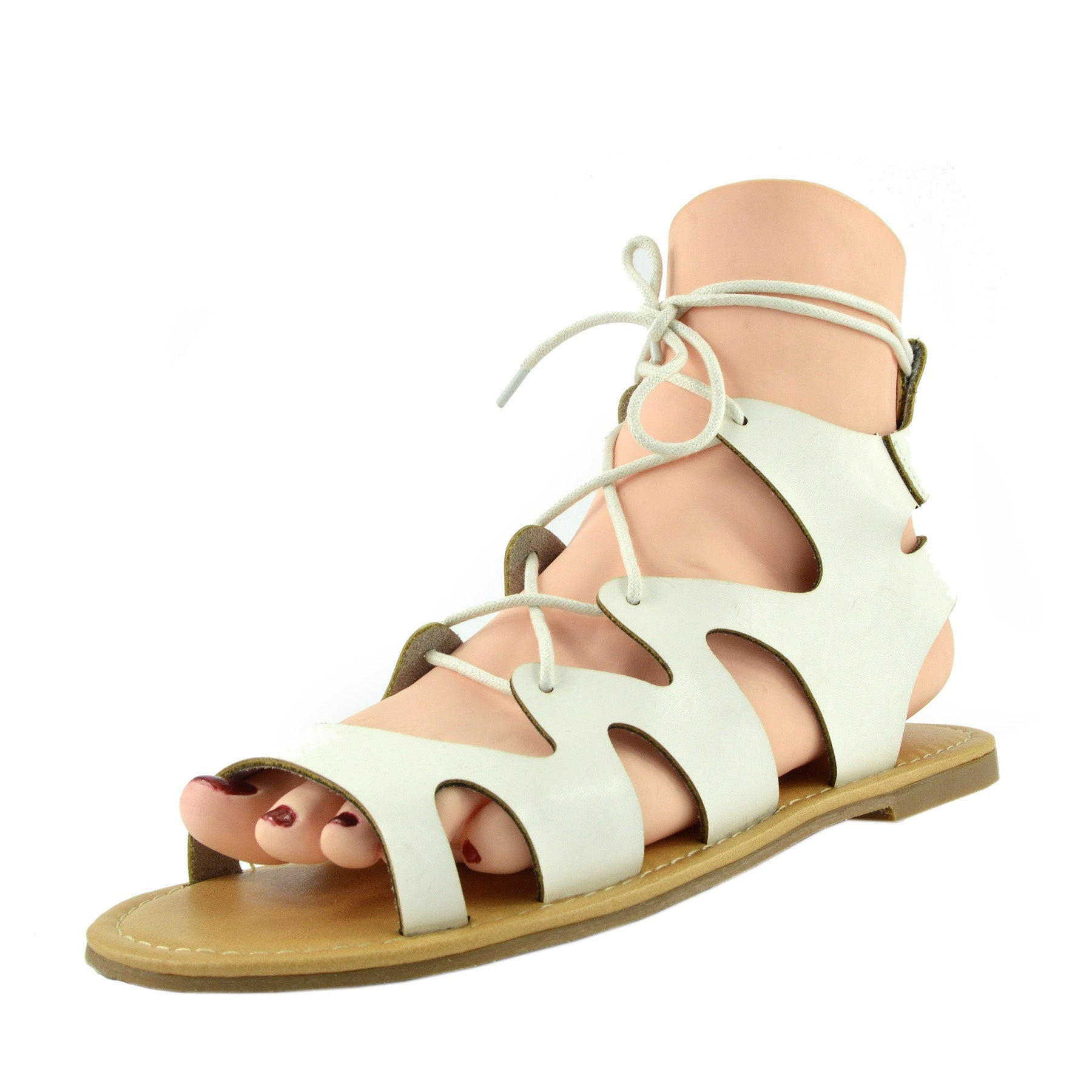 087be8d86e5 Leah Flat Gladiator Lace up Sandals - White - Kickfootwear