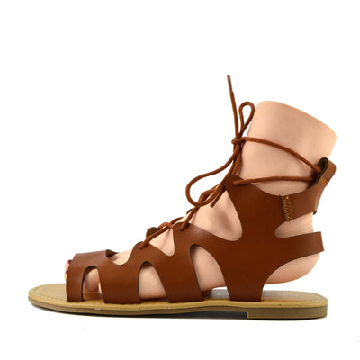Leah Flat Gladiator Lace up Sandals - Tan