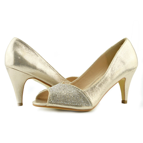 Ladies Heels Classic Party Looks Open Toe Wedding Shoes - Gold