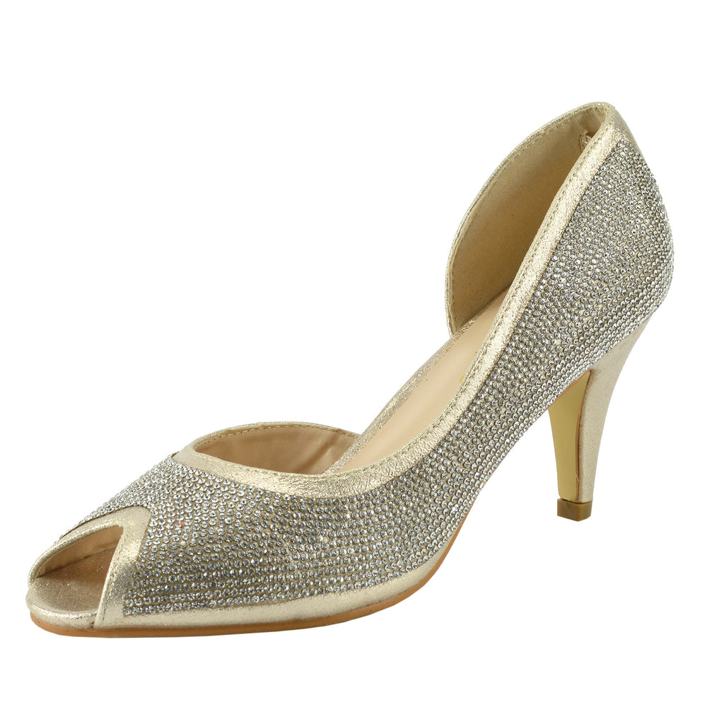 Ladies Heels Classic Party Looks Open Toe Wedding Shoes - Gold RAI21