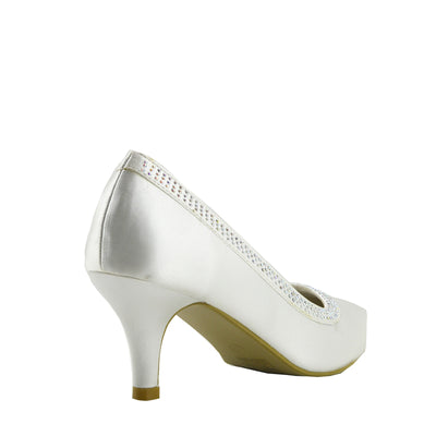 Ladies heels wedding  satin bridal shoes - Ivory Satin