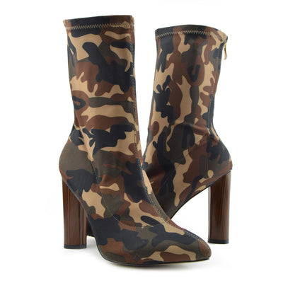 Khloe Camo High Sock Stretch Block Heel Boots - Tan