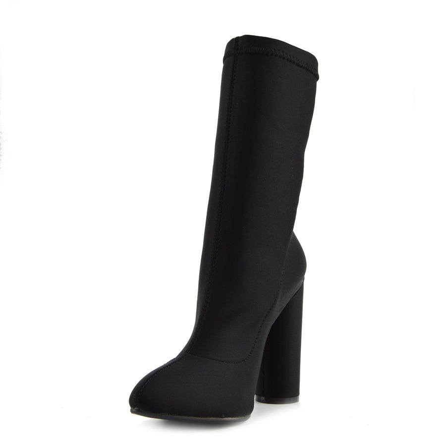 Khloe High Sock Stretch Block Heel Boots - Black