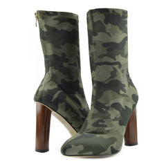 Block Heel Stretch Lycra Military Booties - Khaki