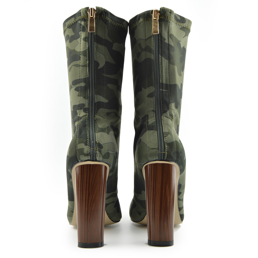 LADIES HIGH BLOCK HEELS MID CALF MILITARY PRINT SUEDE STRETCH LYCRA BOOTS - Khaki