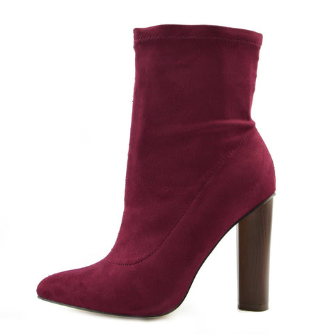 Khloe High Sock Stretch Block Heel Boots - Burgundy