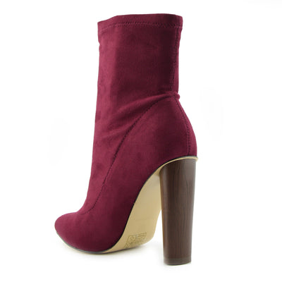 LADIES HIGH BLOCK HEELS MID CALF MILITARY PRINT SUEDE STRETCH LYCRA BOOTS - Berry Stretch