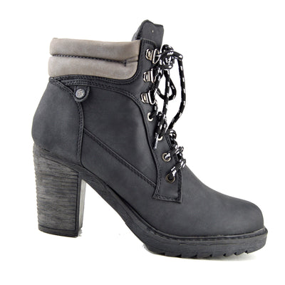 Ladies lace up ankle boot casual combat walking boots - Black