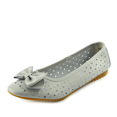 Arden Bow Detail Flat Ballet Slip On Leather Shoes - Grey