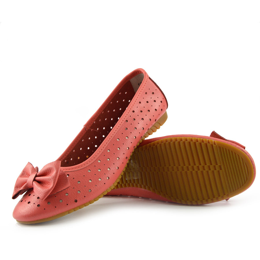 Arden Bow Detail Flat Ballet Slip On Leather Shoes - Coral