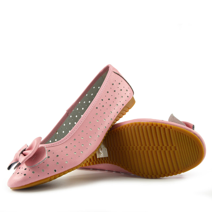 Arden Bow Detail Flat Ballet Slip On Leather Shoes - Pink