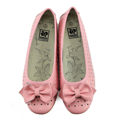 Ladies Leather Comfortable Walking Ballerina Shoes - Pink