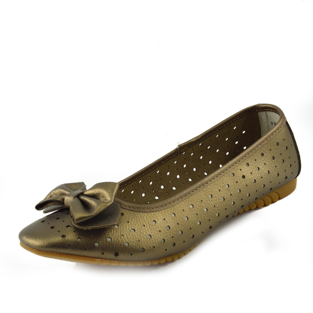 Arden Bow Detail Flat Ballet Slip On Leather Shoes - Bronze
