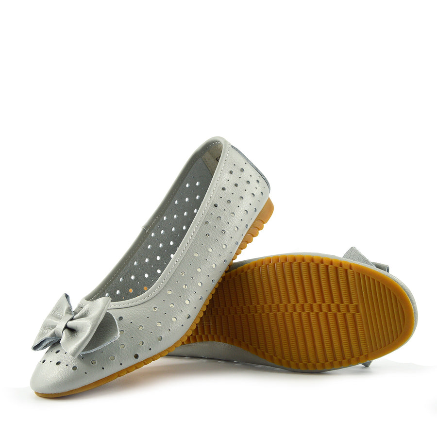 Ladies Leather Comfortable Walking Ballerina Shoes - Grey