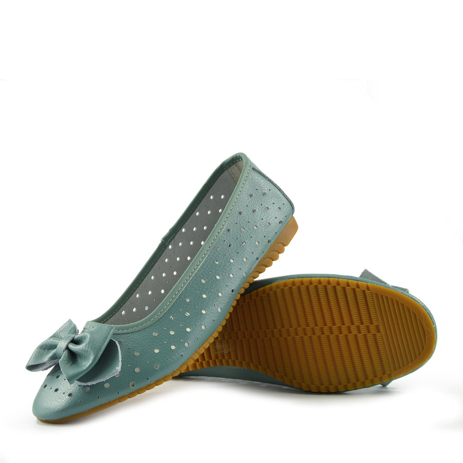 Arden Bow Detail Flat Ballet Slip On Leather Shoes -Teal