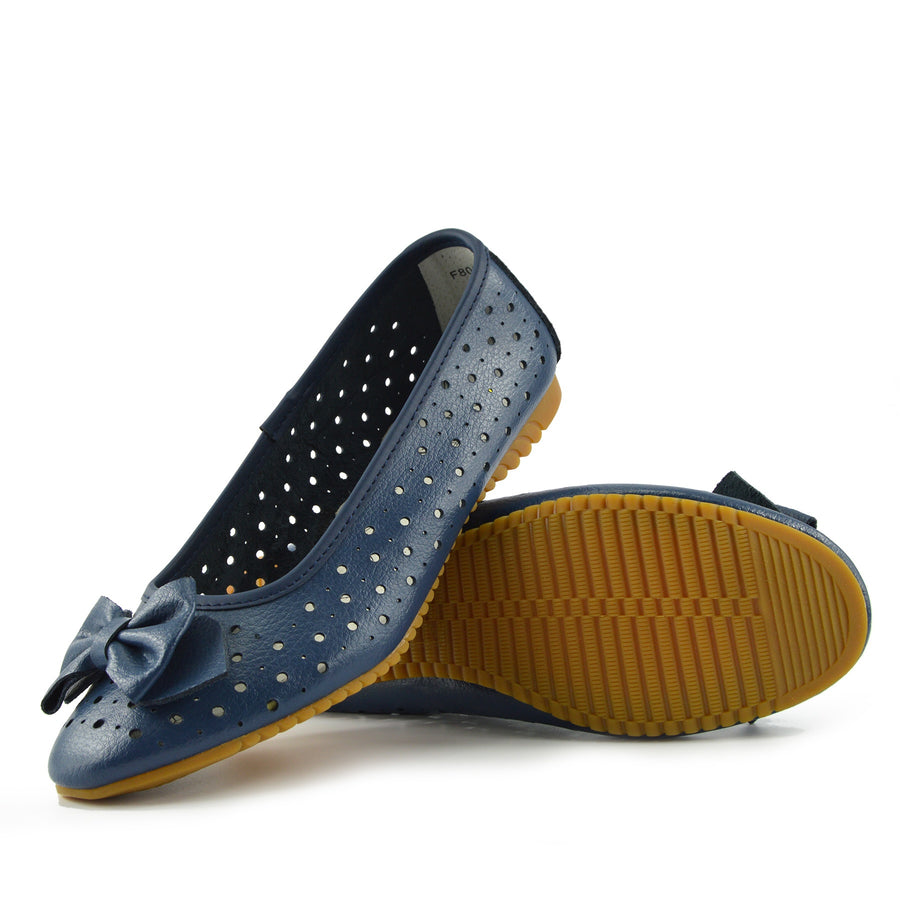 Ladies Leather Comfortable Walking Ballerina Shoes - Navy