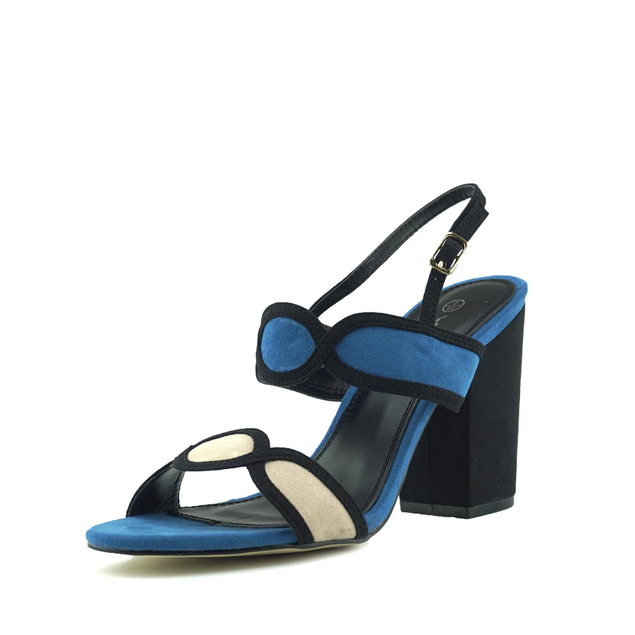 Edie Retro Geo Block Heel Sandals - Blue
