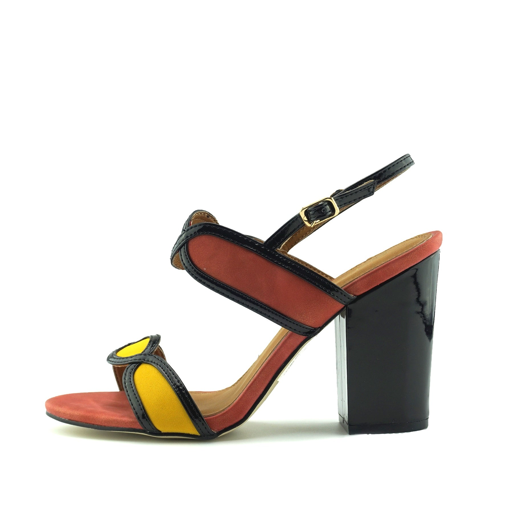 aac76d84cd3 Edie Retro Geo Block Heel Sandals - Orange - Kickfootwear