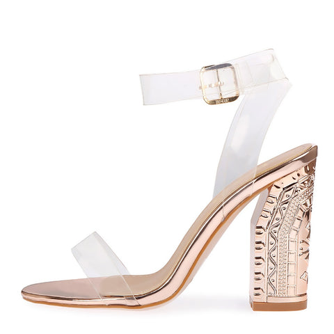 Lace up Perspex Party Metallic Pattern Heels - Rose Gold NF289