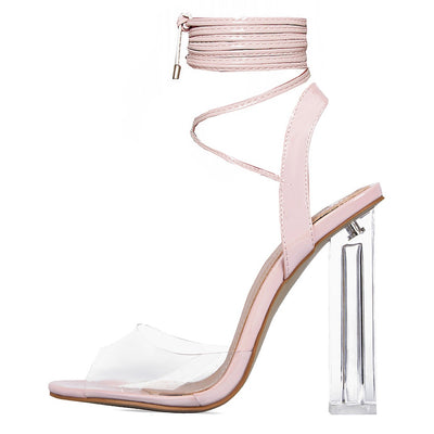 Ladies Womens Girls Perspex High Heels Clear Strap Long Lace Up Party Shoe Size - Pink