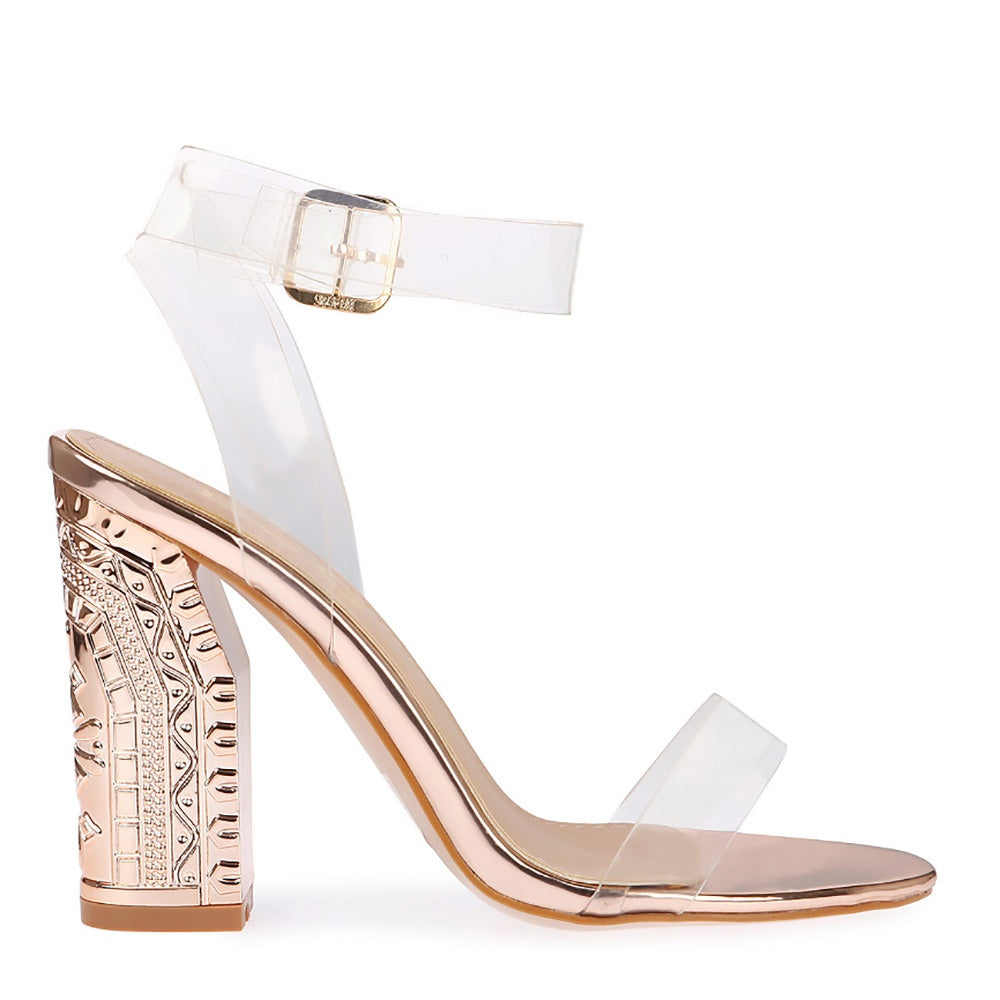 eed798461b0 Ladies Womens Girls Perspex High Heels Clear Strap Long Lace Up Party Shoe  Size - Rose