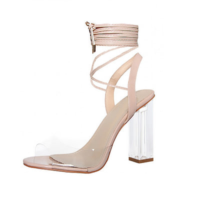 Ladies Womens Girls Perspex High Heels Clear Strap Long Lace Up Party Shoe Size - Nude