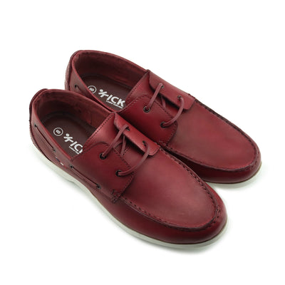 Mason Leather Classic 2 Eye Boat Shoes - Red