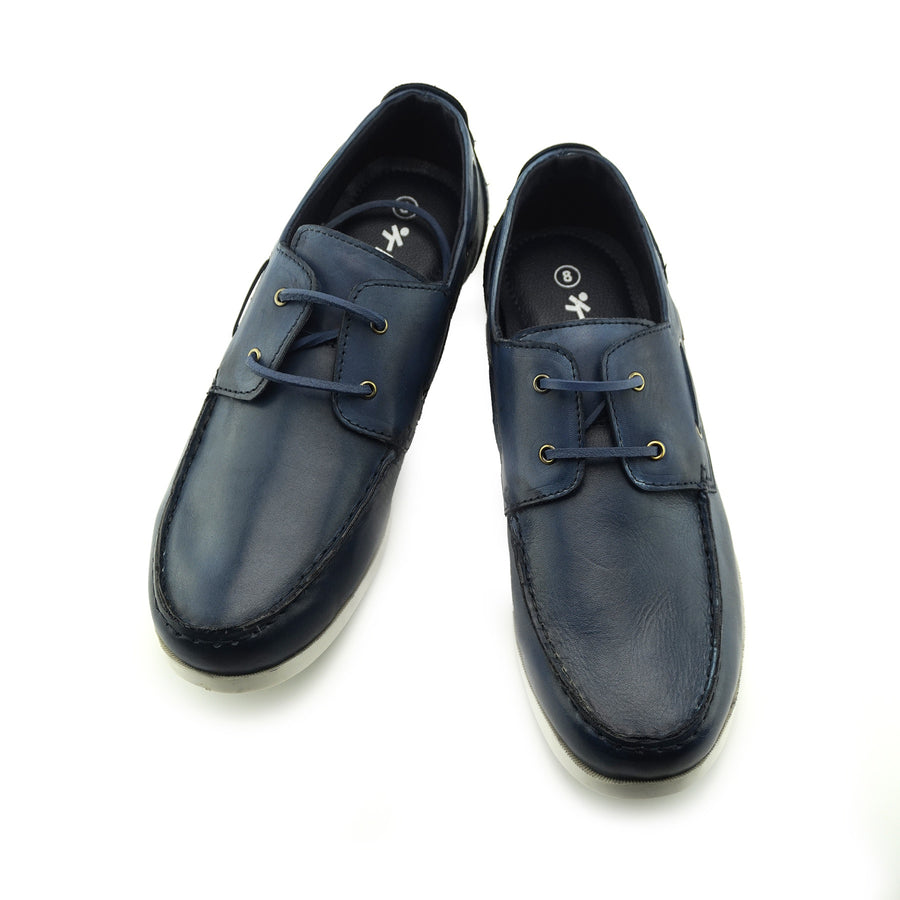 Mason Leather Classic 2 Eye Boat Shoes - Navy
