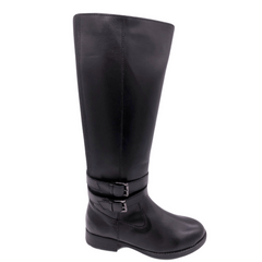 Black Leather Fur Lined Long Boots
