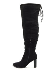 Camille Soft Block Heel Over the Knee Boots - Black