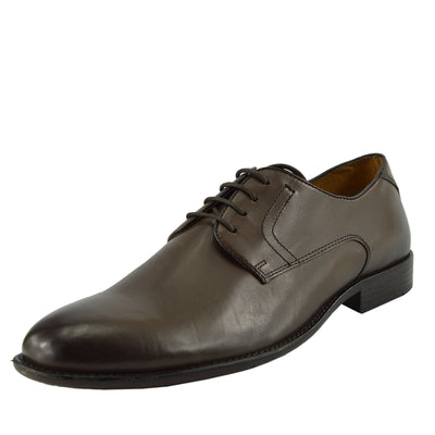 Men's Classic Oxford Real Leather Shoes Brogues Casual Lace Up Formal Shoes - Brown Classic