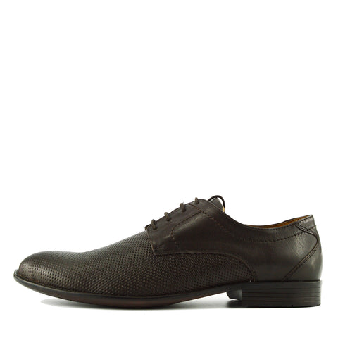 Perforated Texture Leather Oxford Shoes - Brown