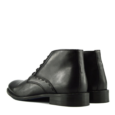 Windsor Leather Brogue Derby Boots - Black